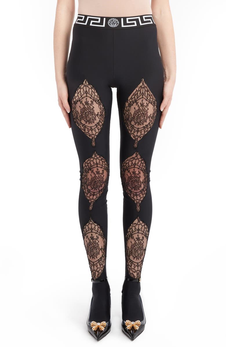 VERSACE Lace Detail Footed Leggings, Main, color, BLACK