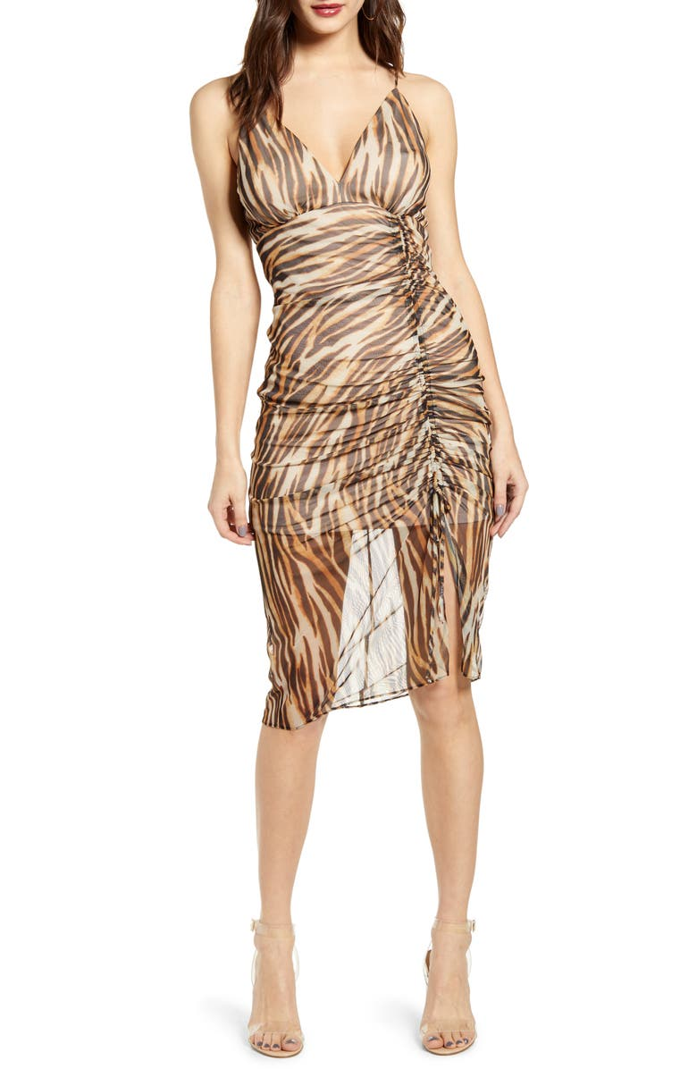 SOCIALITE Animal Print Ruched Mesh Body-Con Dress, Main, color, KHAKI BLACK TIGER
