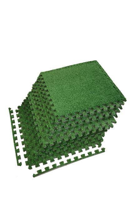 Image of Sorbus Interlocking Floor Mat - Grass, 12 Pieces and Borders
