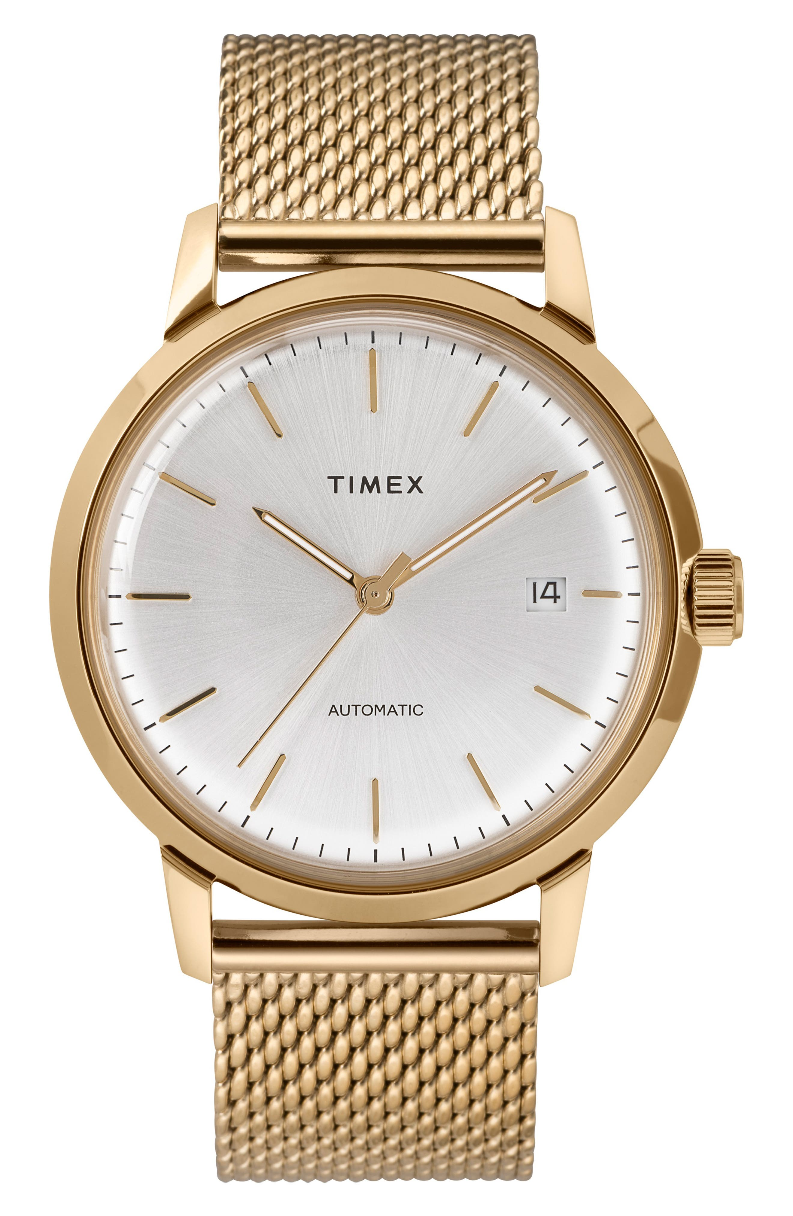 ,                             Marlin Mesh Strap Automatic Watch, 40mm,                             Main thumbnail 1, color,                             GOLD/ SILVER/ GOLD