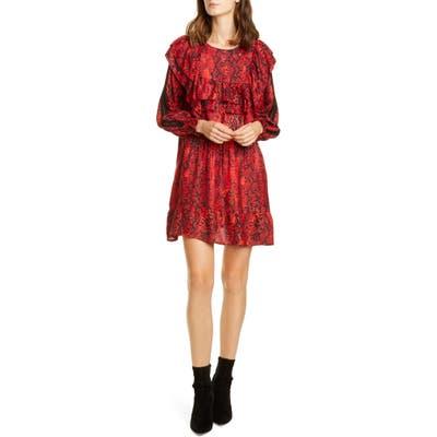Ba & sh Sym Snake Print Long Sleeve Babydoll Dress, Red