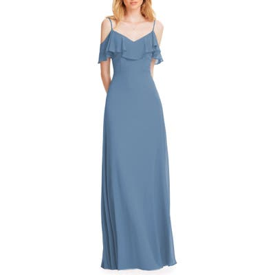 #levkoff Ruffle Shoulder Chiffon Gown, 8W (similar to 16W) - Blue