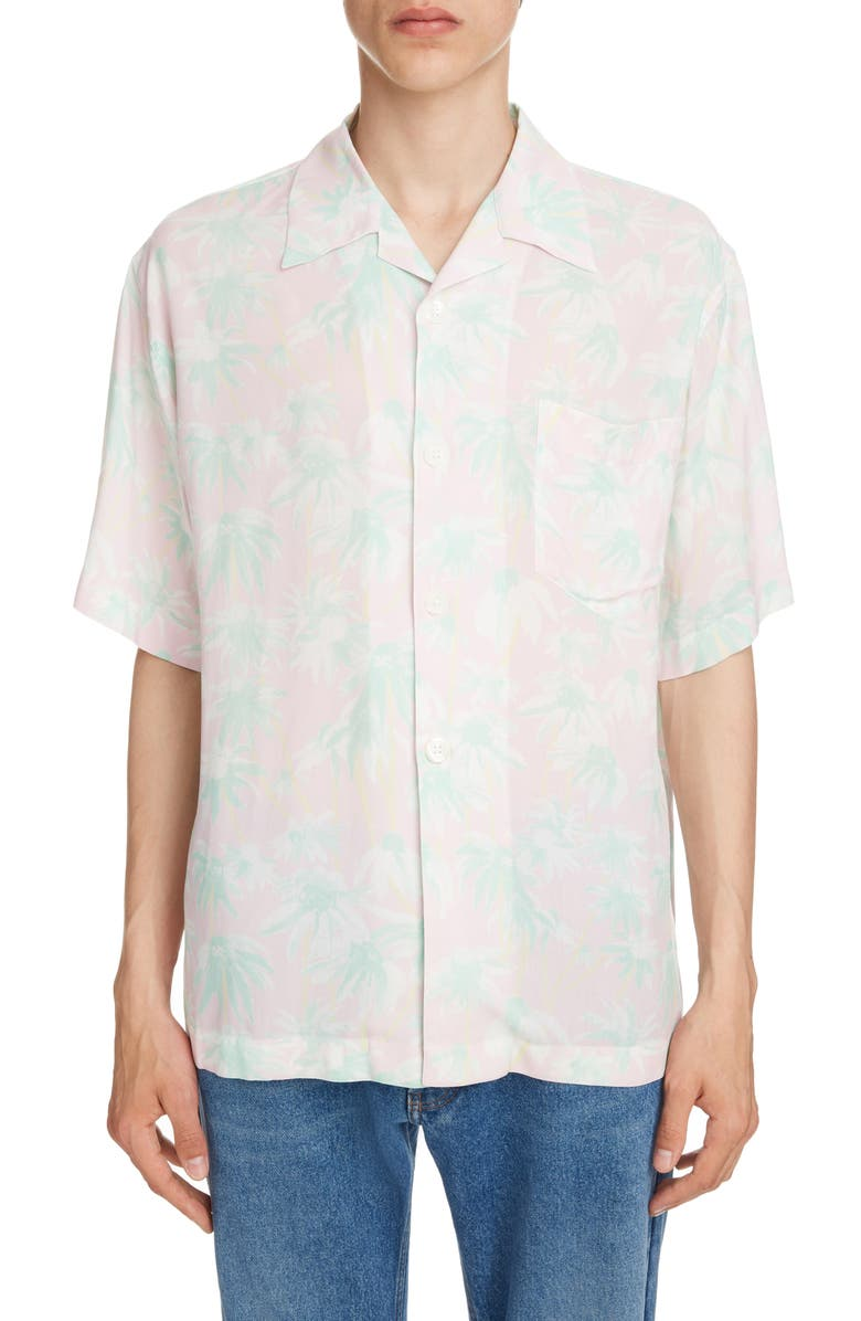 LOEWE Daisy Print Bowling Shirt, Main, color, PINK/ LIGHT GREEN