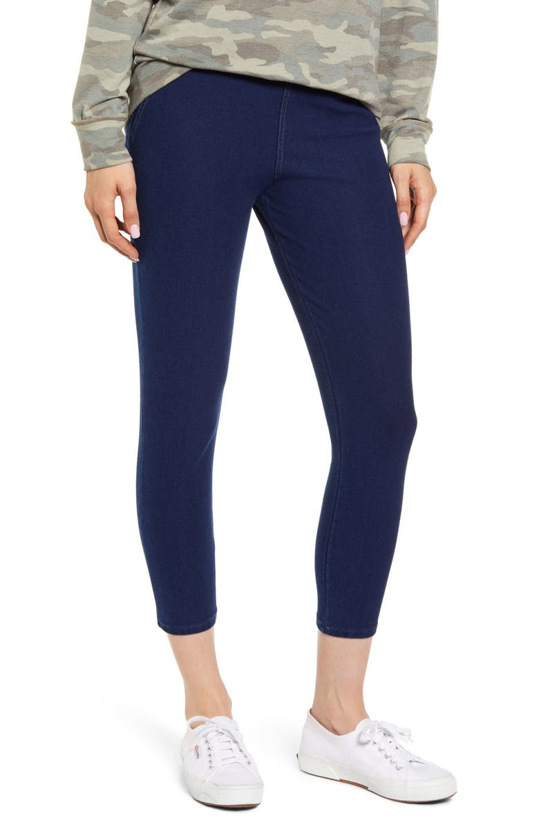 NORDSTROM High Waist Denim Skimmer Leggings, Main, color, INDIGO