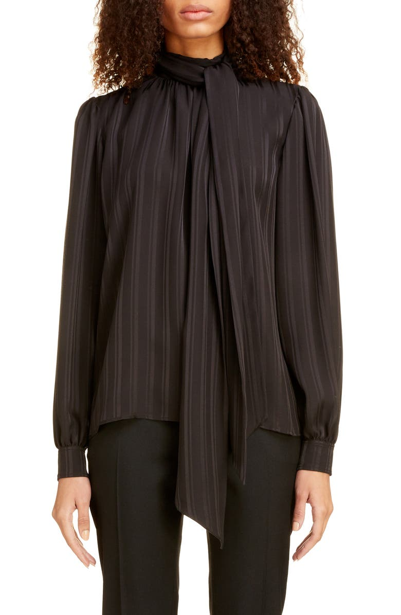 SAINT LAURENT Stripe Tie Neck Blouse, Main, color, NOIR