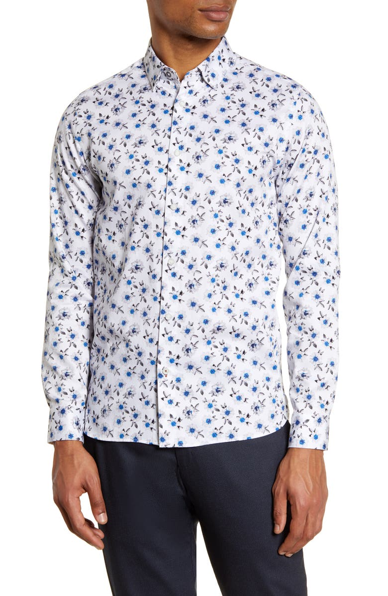 TED BAKER LONDON Wewill Floral Button-Up Shirt, Main, color, 110