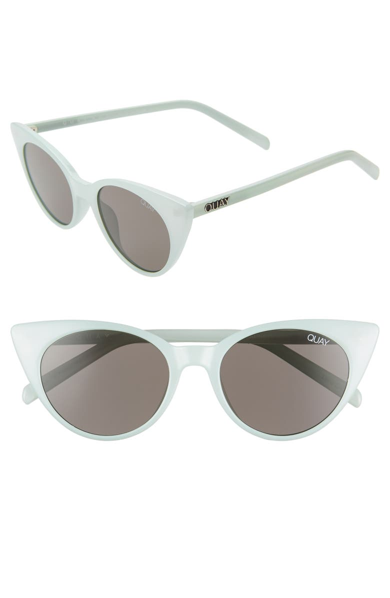 QUAY AUSTRALIA Aphrodite 53mm Cat Eye Sunglasses, Main, color, MINT/ SMOKE