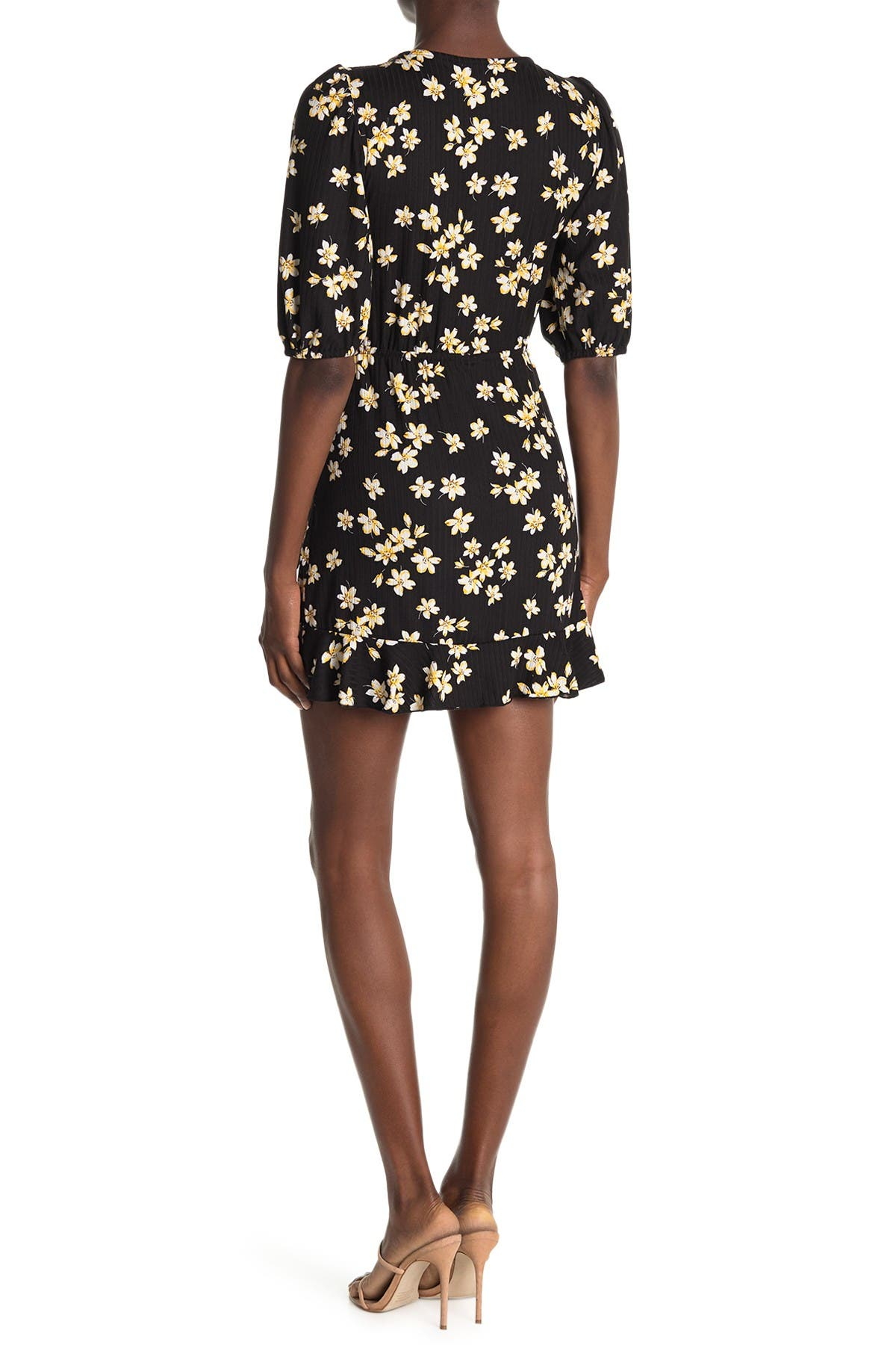Image of Velvet Torch Faux Wrap Knit Floral Dress