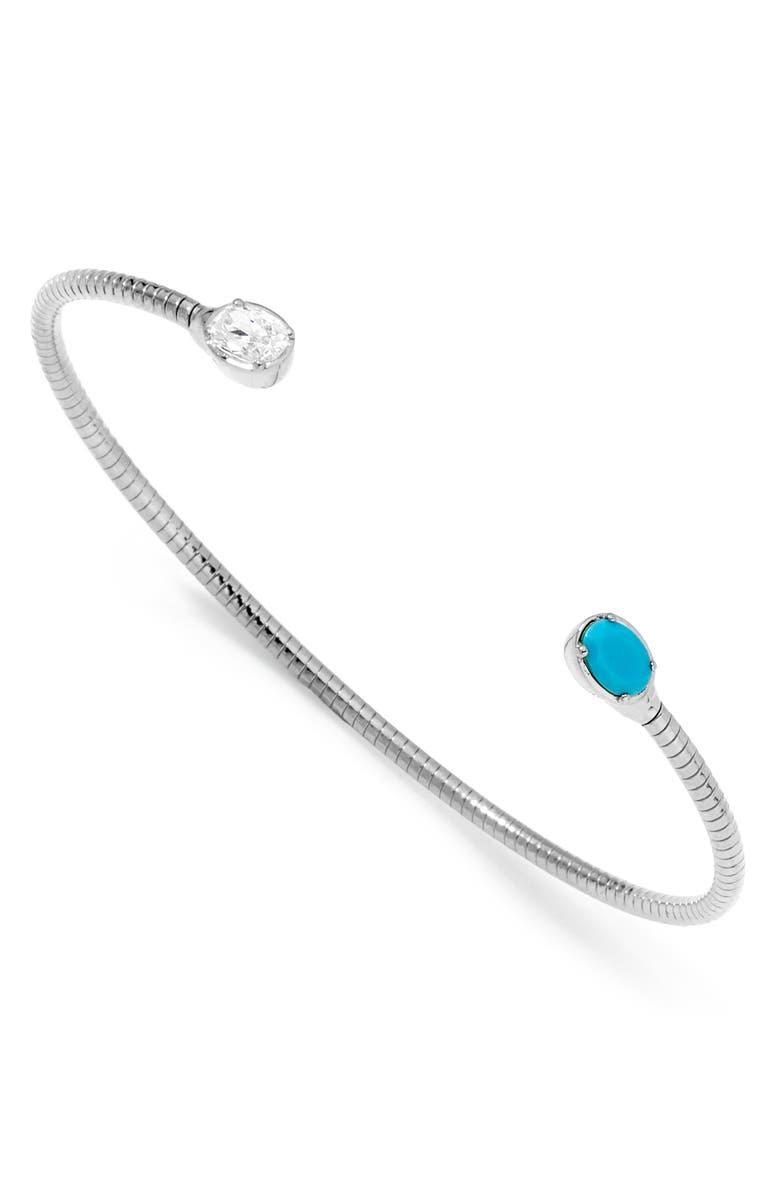 NADRI Issa Stone Cuff Bracelet, Main, color, RHODIUM/ CUBIC ZIRCONIA