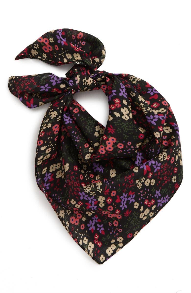 BP. Floral Cotton Square Scarf, Main, color, PURPLE HYACINTH