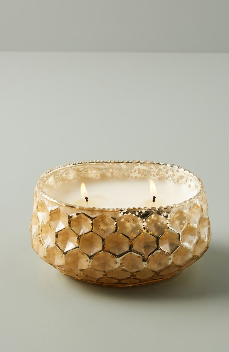 ANTHROPOLOGIE Low Wide Honeycomb Candle, Main, color, SPRUCE NECTAR