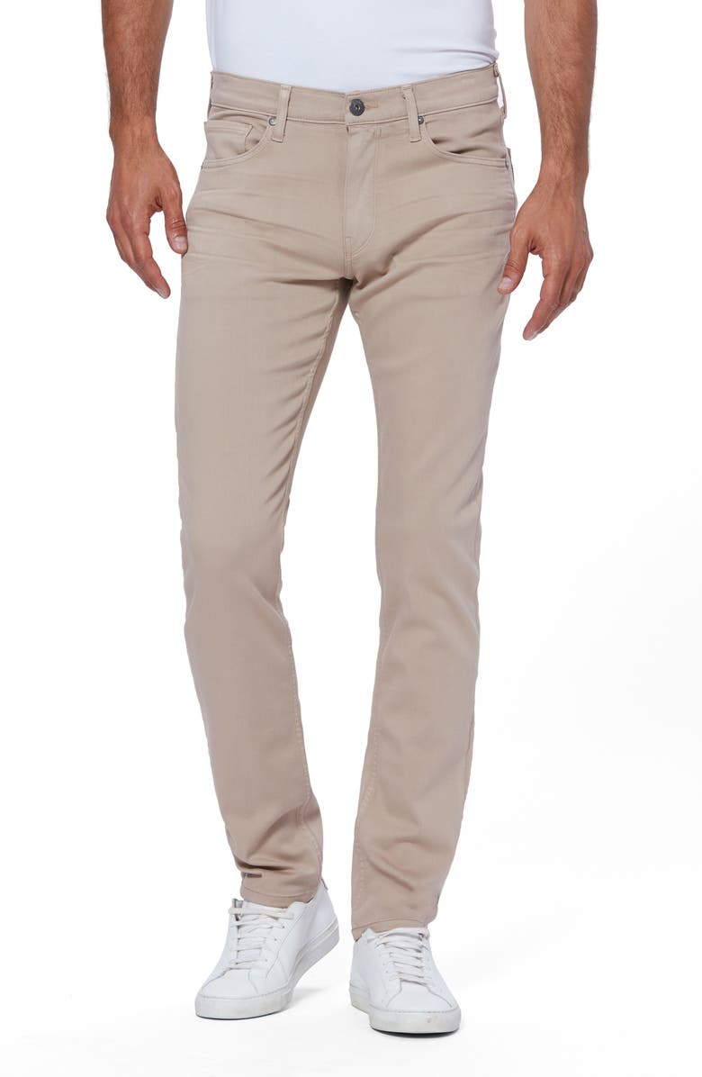 PAIGE Transcend Lennox Slim Fit Twill Pants, Main, color, TOASTED ALMOND