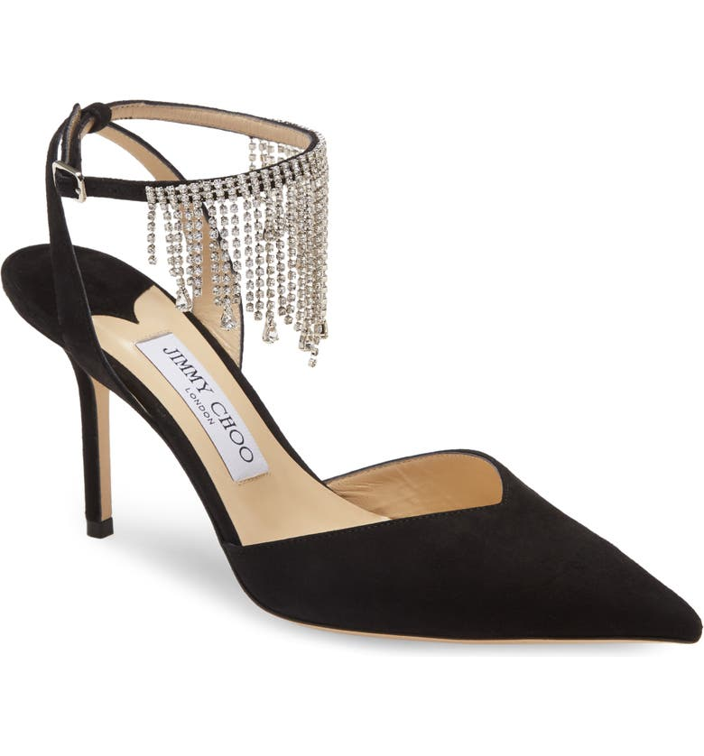 JIMMY CHOO Birtie Crystal Chain Pointed Toe Pump, Main, color, 001