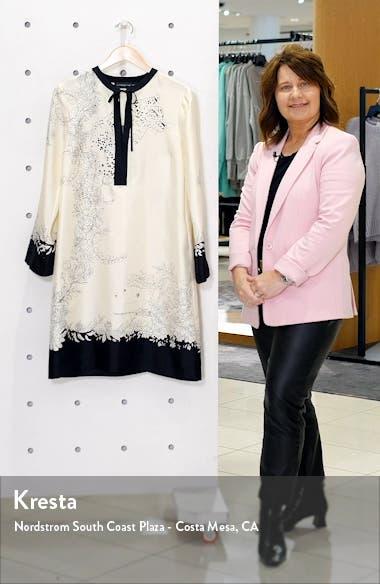 Cheetah & Floral Print Long Sleeve Silk Shift Dress, sales video thumbnail