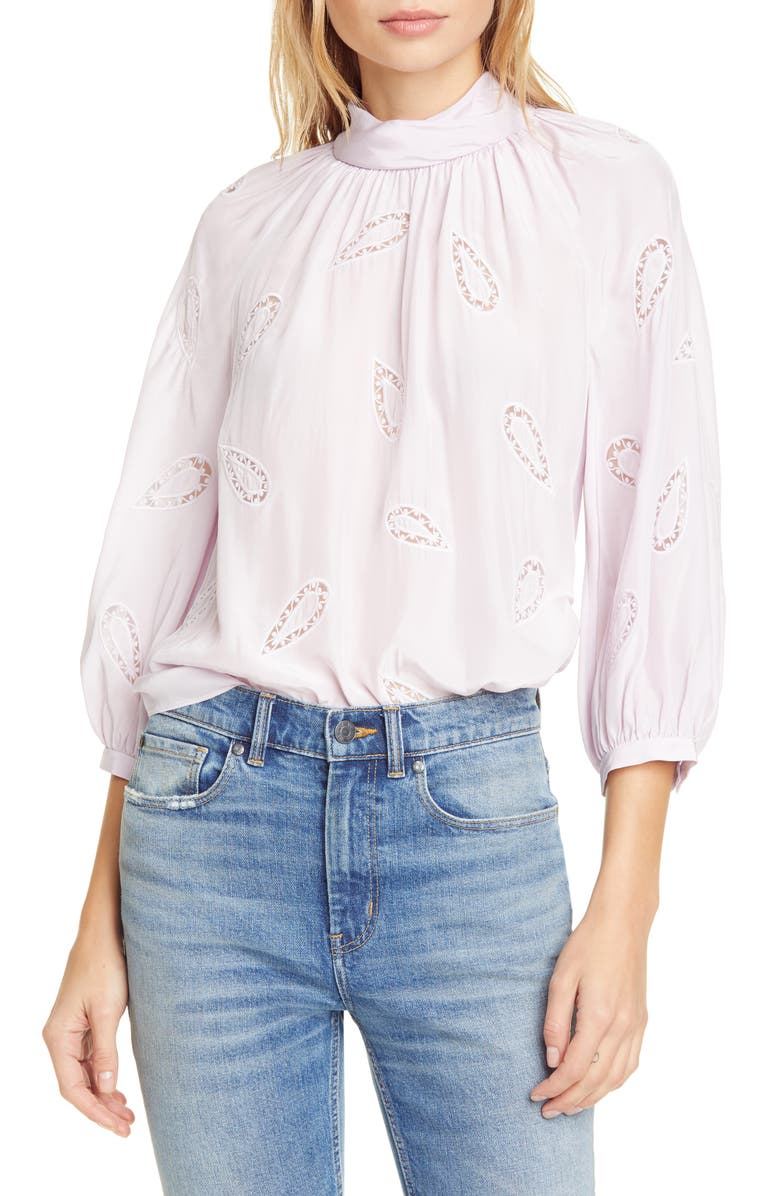 REBECCA TAYLOR Appliqué Silk Blouse, Main, color, PETUNIA