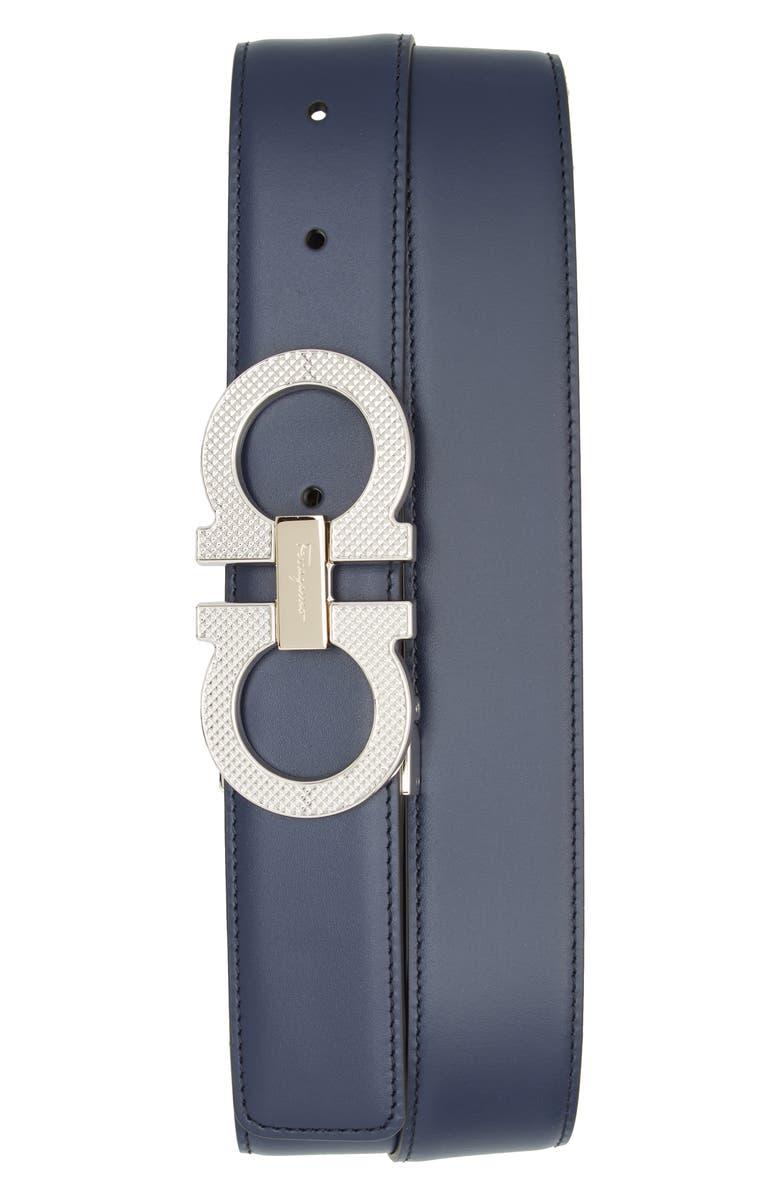 SALVATORE FERRAGAMO Reversible Leather Belt, Main, color, NAVY / NERO