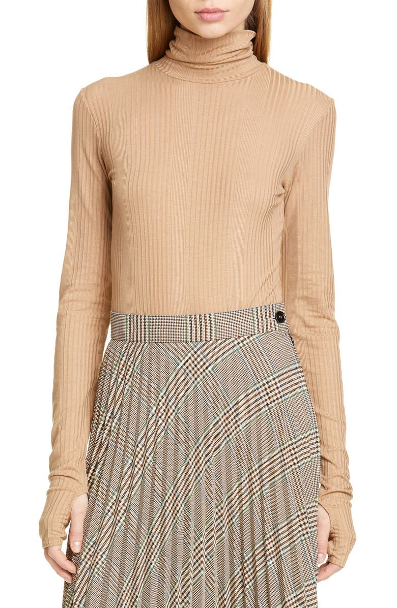 MM6 MAISON MARGIELA Turtleneck Bodysuit, Main, color, NUDE
