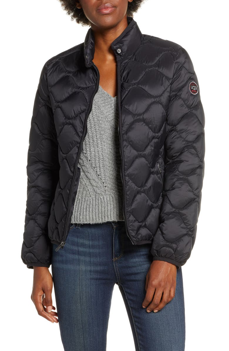 UGG<SUP>®</SUP> Selda Packable Water Resistant Quilted Jacket, Main, color, 001