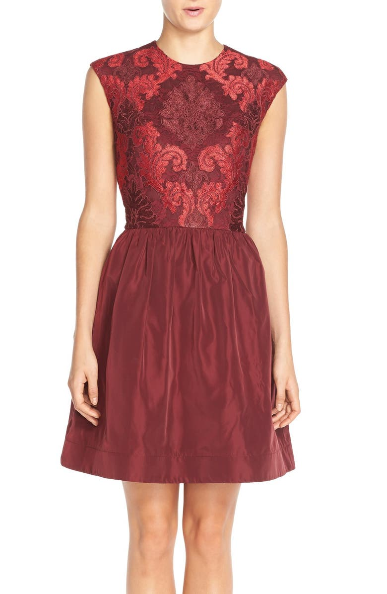 TAYLOR DRESSES Mixed Media Fit & Flare Dress, Main, color, 609
