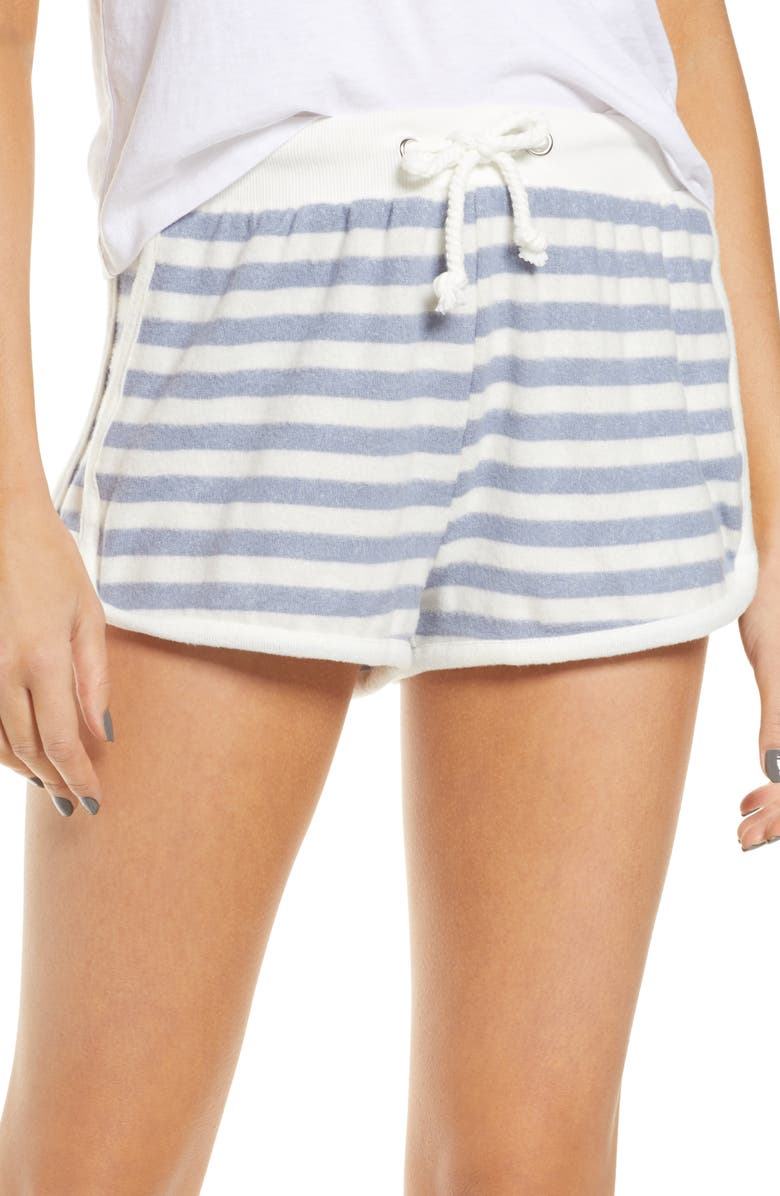 VINTAGE HAVANA Stripe Hacci Pajama Shorts, Main, color, 101