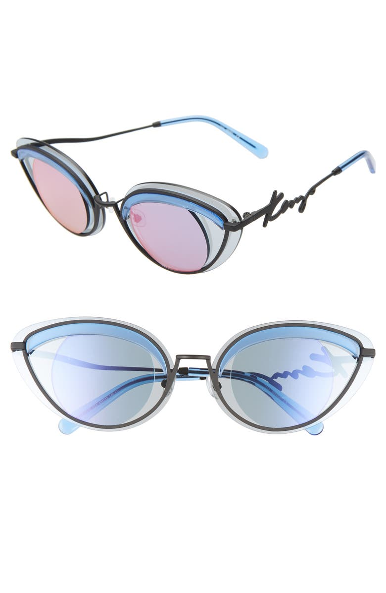 KENZO 43mm Cat Eye Sunglasses, Main, color, MATTE BLK/ CRYSTAL/BLU PNK