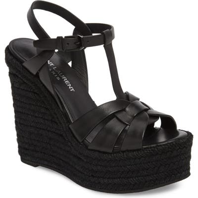 Saint Laurent Tribute Espadrille Wedge, Black