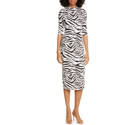 Alice + Olivia Delora Animal Print Mock Neck Dress, White