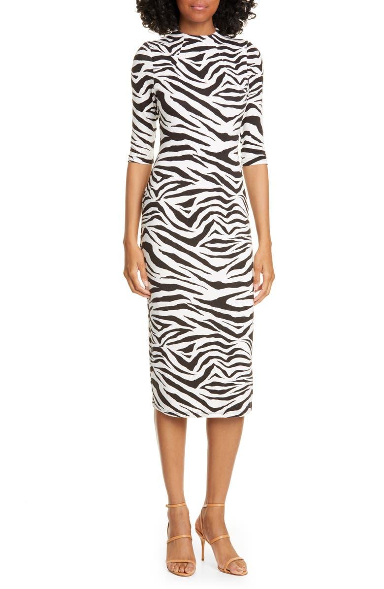 ALICE + OLIVIA Delora Animal Print Mock Neck Dress, Main, color, TIGER SOFT WHITE/ BLACK
