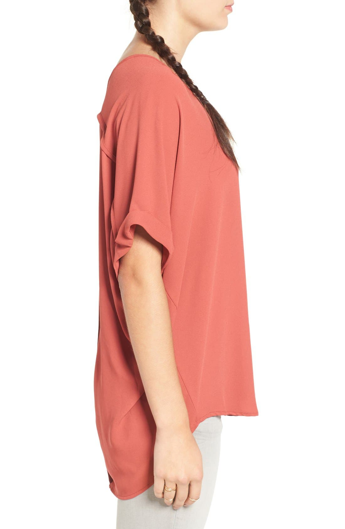 ,                             Lush Cuff Sleeve Woven Tee,                             Alternate thumbnail 178, color,                             800