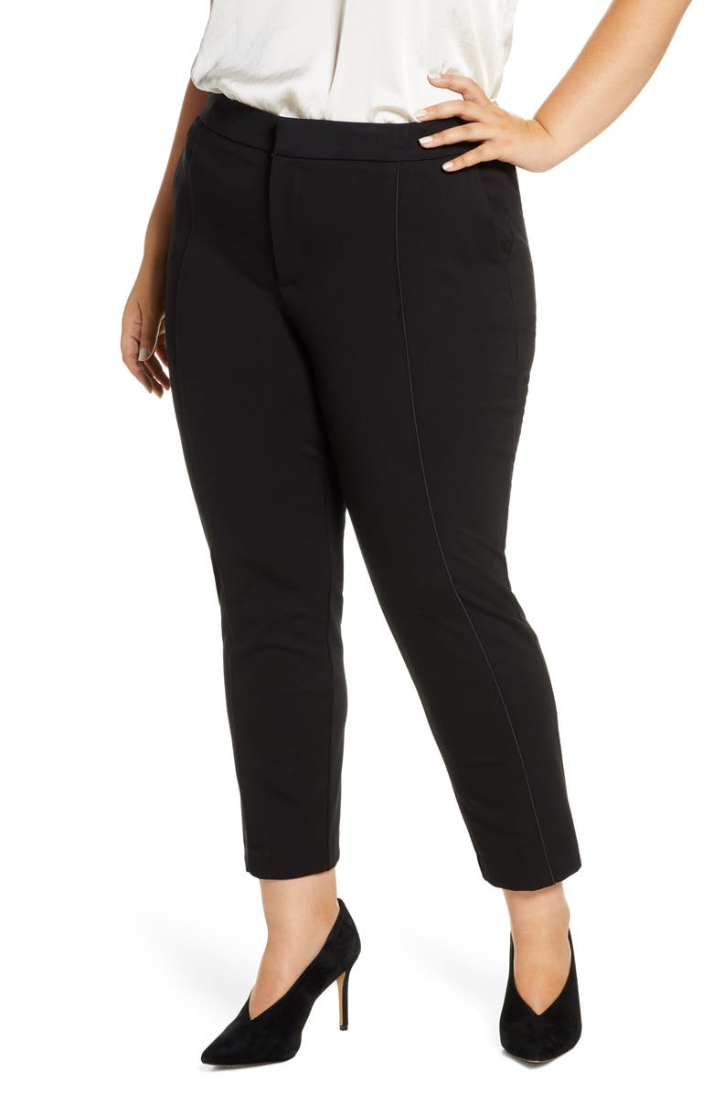 ELOQUII 9-to-5 Stretch Work Pants, Main, color, 001