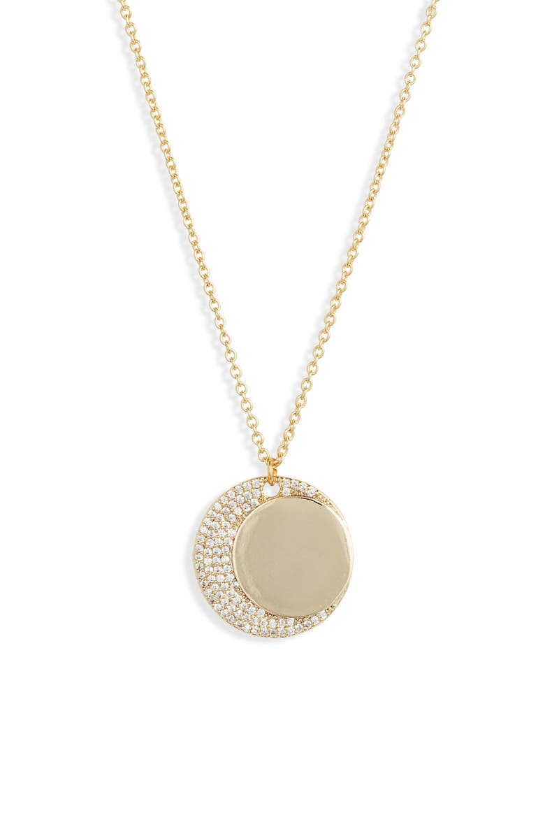 JULES SMITH Moon Crystal Pendant Necklace, Main, color, GOLD