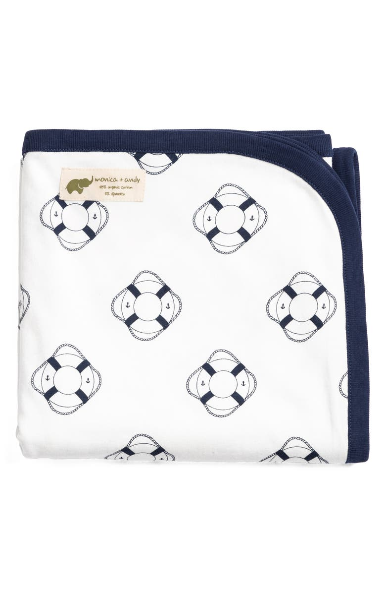 MONICA + ANDY Welcome Aboard Stretch Organic Cotton Coming Home Blanket, Main, color, WELCOME ABOARD