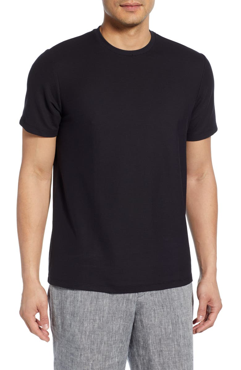 CALIBRATE Trim Fit Solid Piqué T-Shirt, Main, color, BLACK CAVIAR