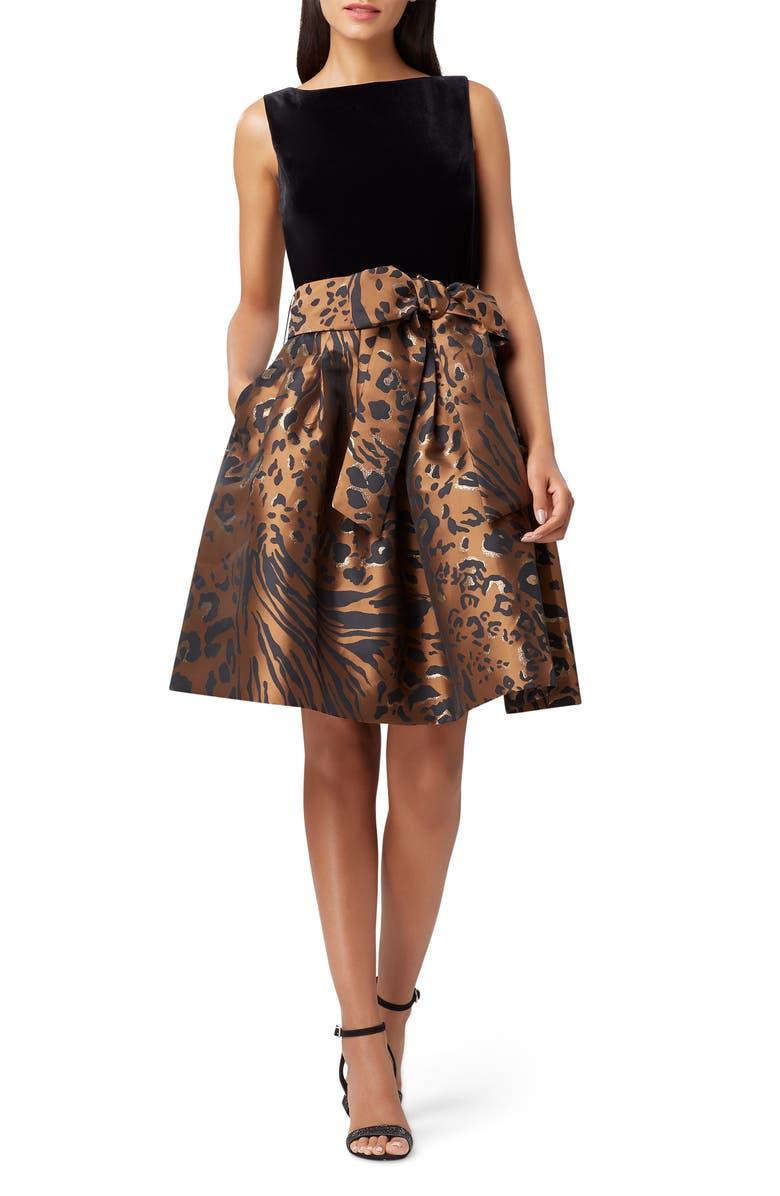 TAHARI Velvet Sleeveless Fit & Flare Dress, Main, color, 001