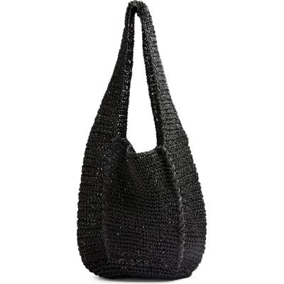 Topshop Bali Slouchy Straw Tote - Black
