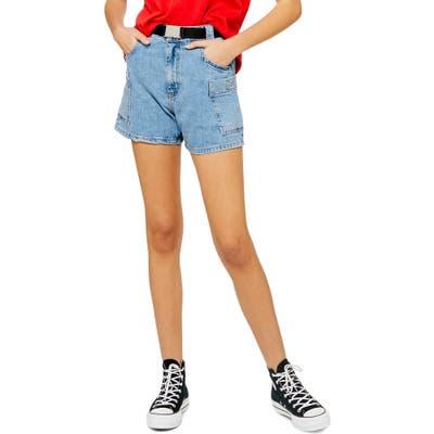 Topshop Belted High Waist Denim Utility Shorts, US (fits like 14) - Blue