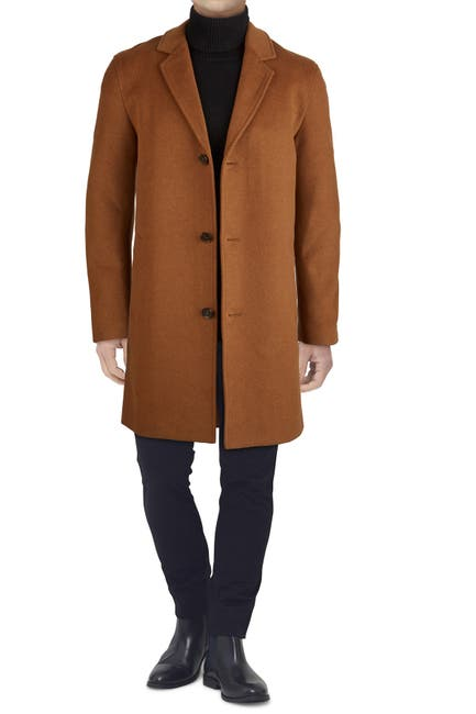 Image of Cole Haan Classic Wool Blend Plush Notched Collar Coat
