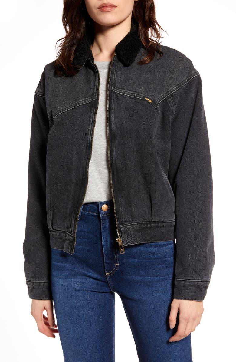 WRANGLER '80s Fleece Collar Denim Jacket, Main, color, 001