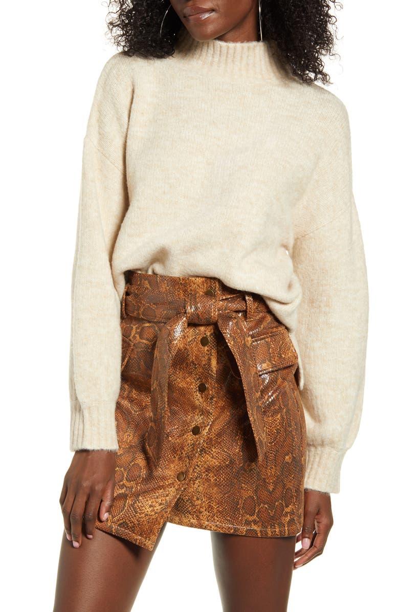 J.O.A. Mock Neck Sweater, Main, color, CREAM MULTI