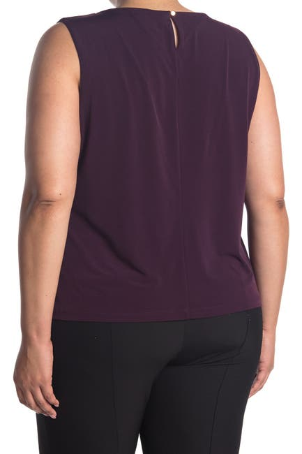Image of Calvin Klein Solid Pleated Sleeveless Top