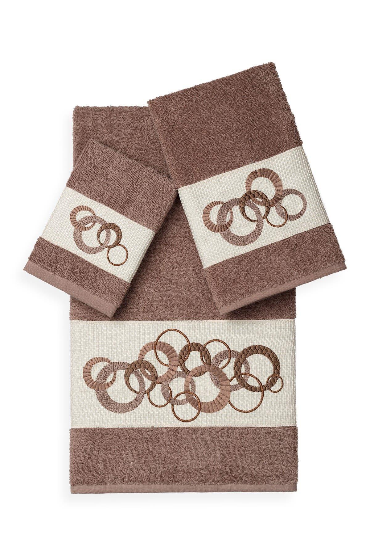 Image of LINUM TOWELS Annabelle 3-Piece Embellished Towel Set - Latte