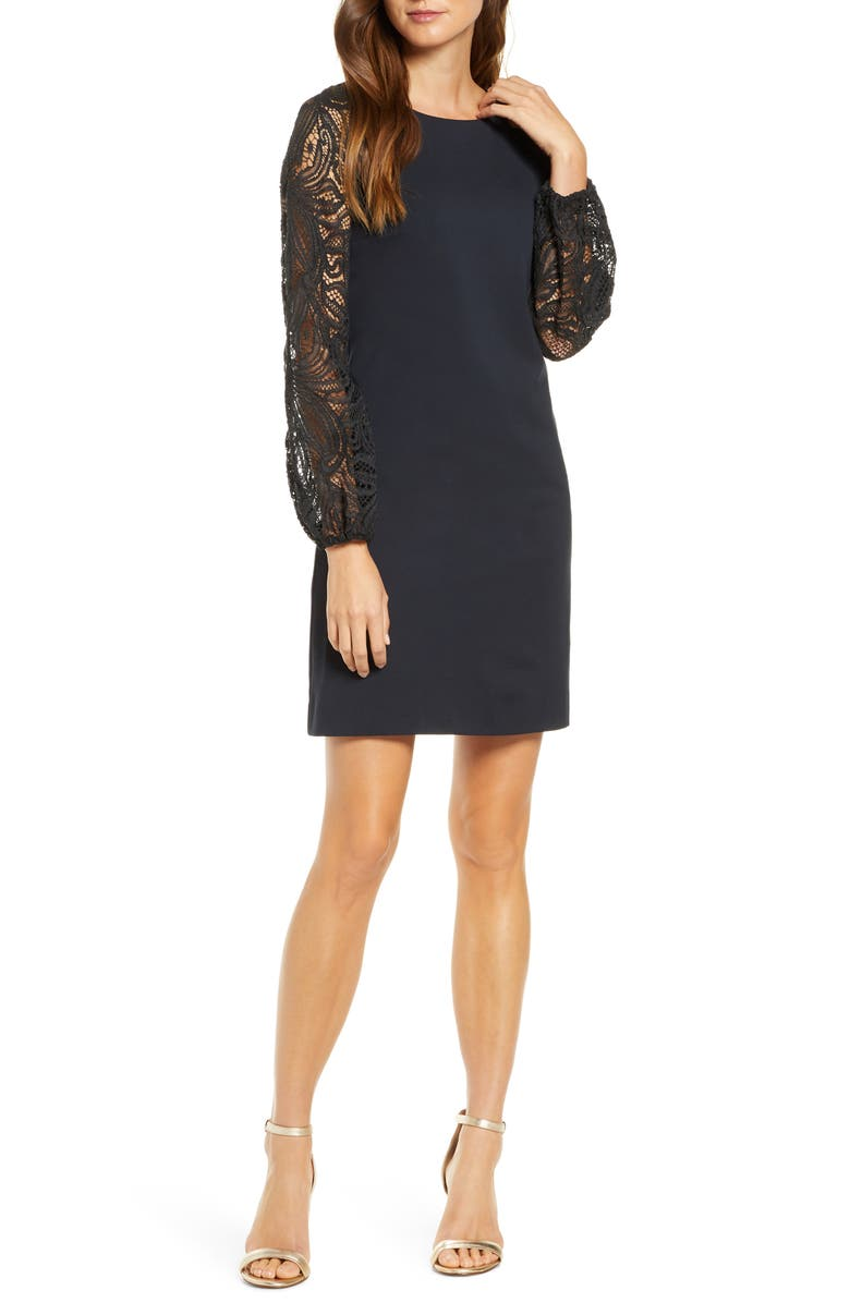 LILLY PULITZER<SUP>®</SUP> Gali Lace Long Sleeve Shift Dress, Main, color, ONYX