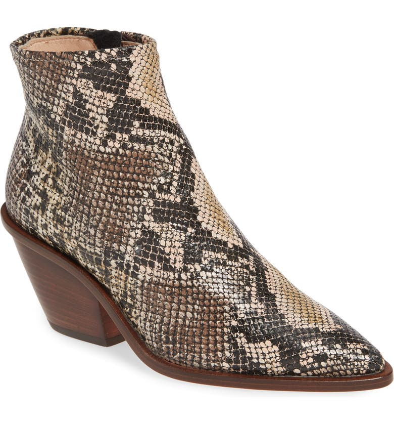 AGL Snake Embossed Western Bootie, Main, color, TAUPE MULTI SNAKE