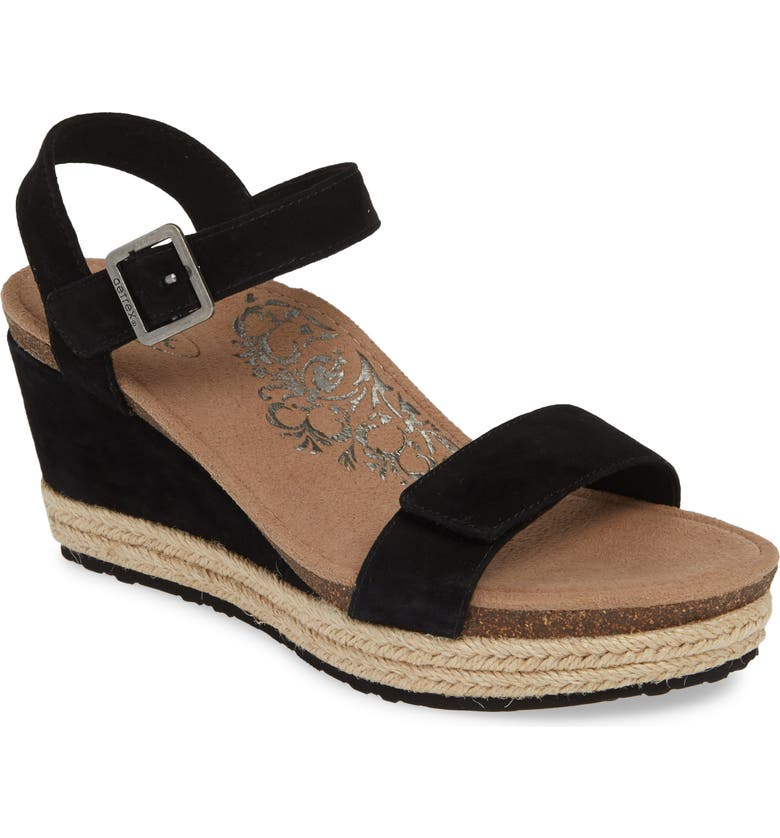 AETREX Sydney Wedge Sandal, Main, color, BLACK SUEDE