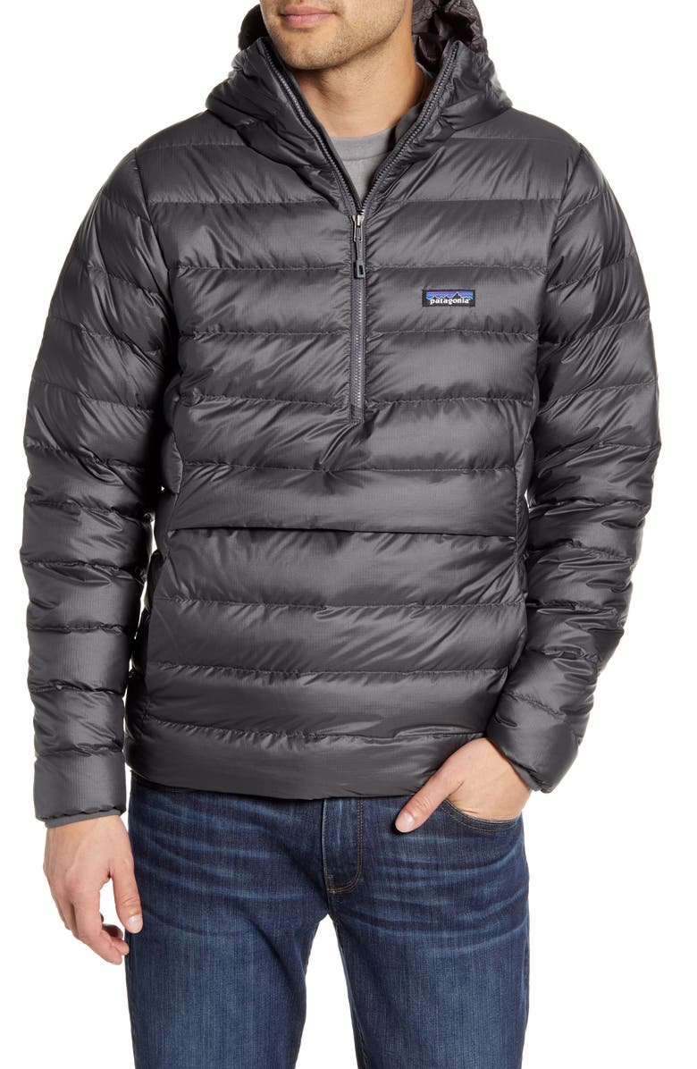 PATAGONIA Quilted Down Pullover Hoodie, Main, color, MELT DOWN FORGE GREY