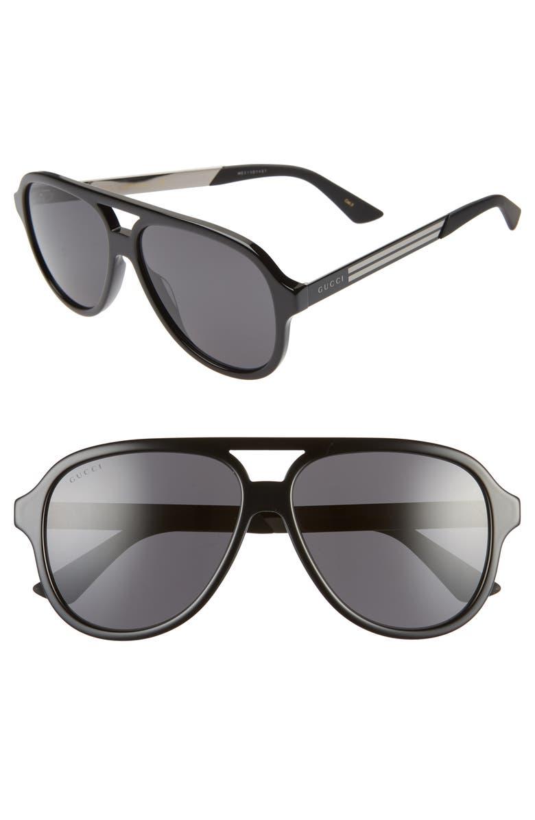 GUCCI 59mm Aviator Sunglasses, Main, color, 001