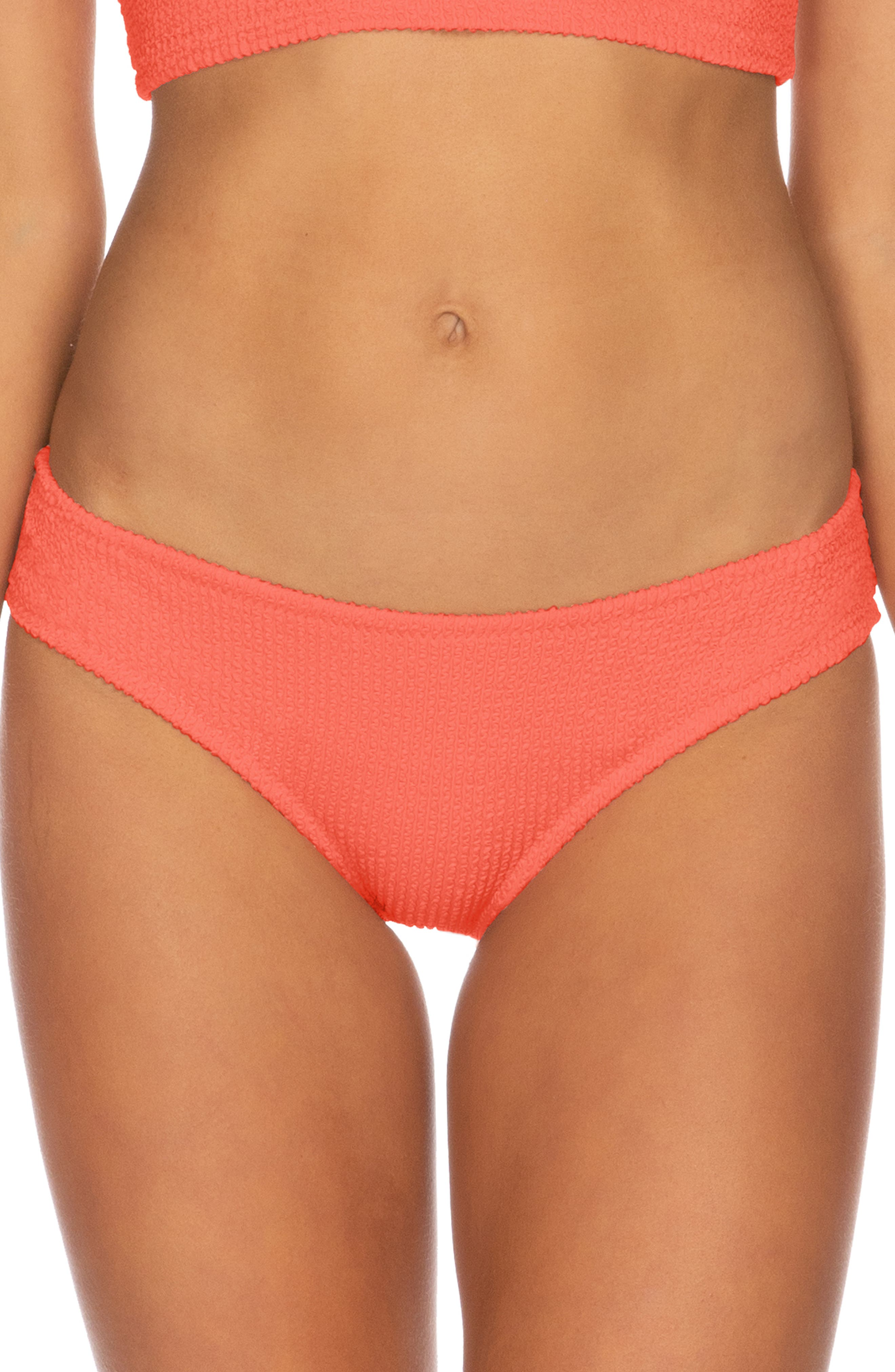 Isabella Rose Pucker Up Seersucker Bikini Bottoms, Coral