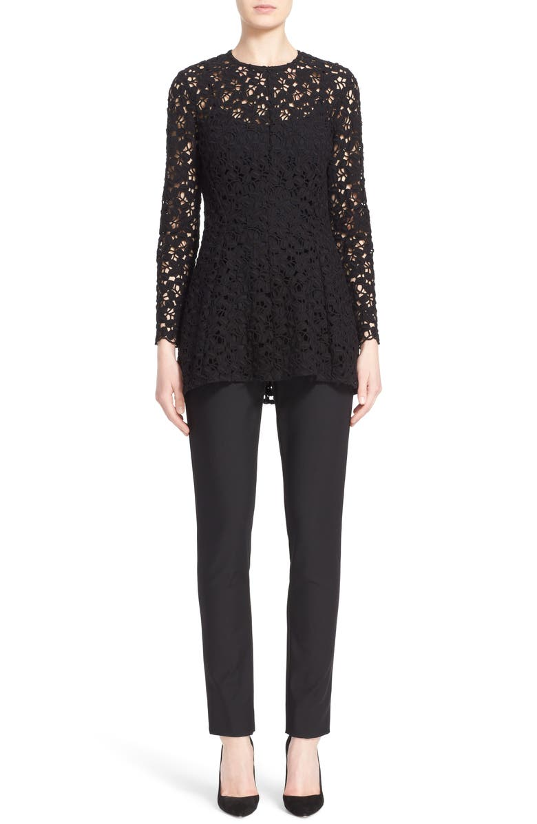 LELA ROSE Catherine Stretch Twill Ankle Pants, Main, color, BLACK
