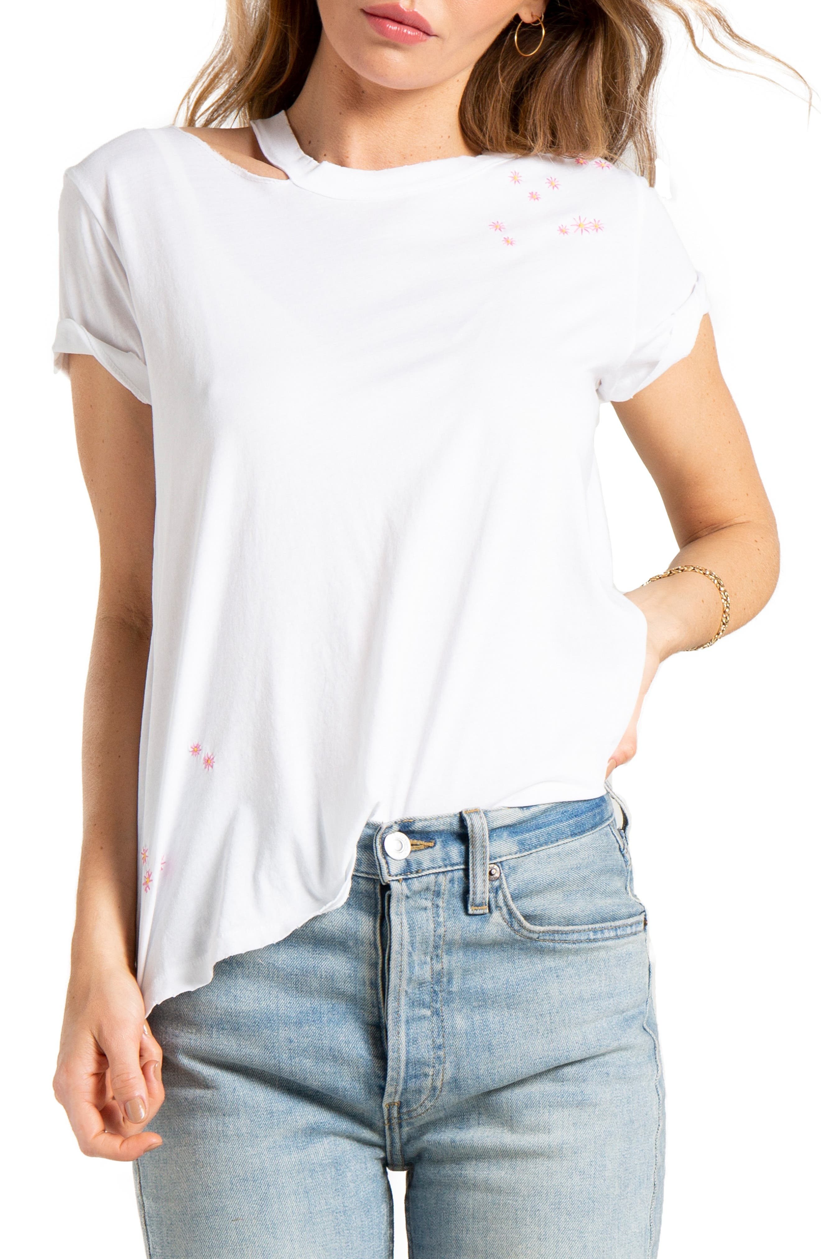 Zander Flower Embroidered Tee, Main, color, WHITE