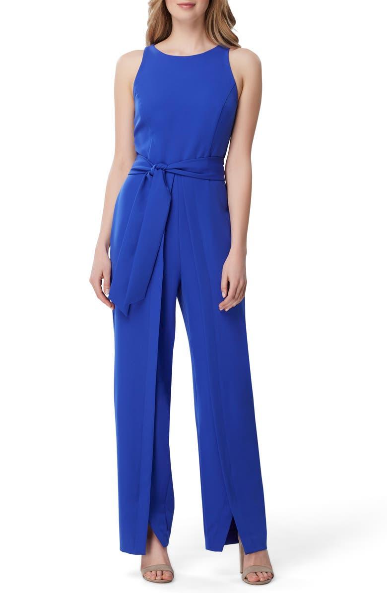 TAHARI Tie Waist Crepe Wide Leg Jumpsuit, Main, color, SUMMER ROYAL